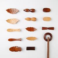 日式和风筷子托筷子夹 楠木荷木大鱼树叶圆环创意实木筷托筷子架