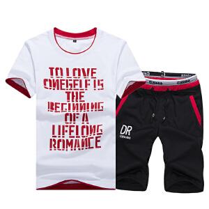 1号牛仔 夏季潮男印花薄款短袖T恤套装