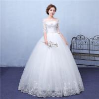 婚纱礼服2018新款韩版新娘结婚一字肩长袖蕾丝显瘦齐地秋春季 G20 白色 新品限时送3件套