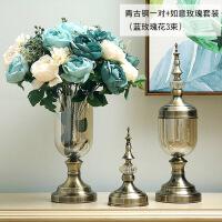 欧式玻璃花瓶水晶摆件现代简约美式插花装饰品餐桌电视柜客厅家居时尚家居用品
