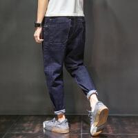 九分哈伦裤男士夏季韩版潮流宽松牛仔裤9分复古小脚裤黑色大码裤子