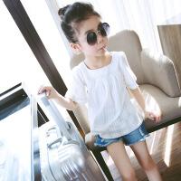 女童T恤儿童半袖白色短袖打底衫童装2018夏装新款中大女孩上衣棉