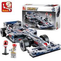 儿童积木拼装F1方程式汽赛车玩具小孩男孩3礼物6模型8岁legao儿童节礼物 1:24银剑F1赛车-287片