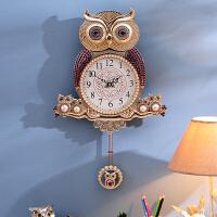 欧式家居饰品创意钟表客厅墙面装饰挂件韩式猫头鹰挂钟20英寸