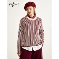 伊芙丽冬装新款韩版长袖套头条纹慵懒风羊毛针织衫毛衣女