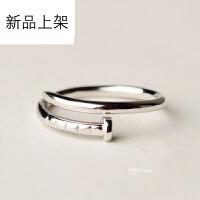 抖音网红款钉子戒指纯银简约925开口男女情侣指环韩版创意个性新年礼物刻字 均码/可调节