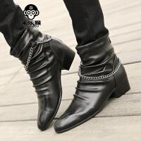 米乐猴 潮牌秋季皮靴男短靴尖头韩版男士马丁靴英伦休闲鞋潮流拉链男靴子男鞋