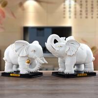 陶瓷大象摆件一对白色吉祥风水象创意家居装饰品办公室摆设品 吸财一对(描金)
