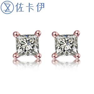 佐卡伊玫瑰18k金钻石耳钉 简约四爪 男女同款情侣公主方钻石耳钉