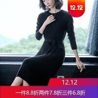 秋冬毛衣女套头修身中长款打底连衣裙显瘦大码针织羊绒衫