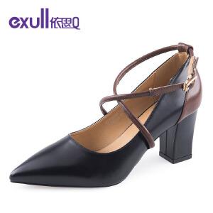 依思q性感罗马绕带女鞋舒适百搭粗跟高跟单鞋