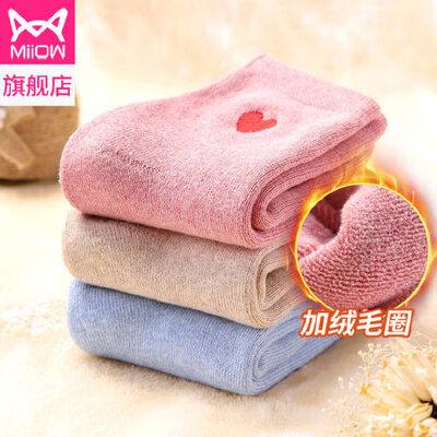 猫人加厚毛圈加绒保暖纯棉袜女秋冬季纯色潮袜子长袜中筒袜学生袜