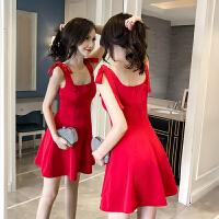 2018夏季新款韩版无袖背心连衣裙夜店性感露肩气质显瘦红色a字裙 红色
