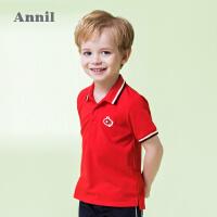 【3件3折:50.7】安奈儿童装男小童经典萌趣翻领T恤夏装新款短袖