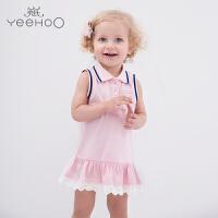 【直降】英氏婴儿背心裙夏季  女宝翻领无袖A字粉色运动风连衣裙 183A0050
