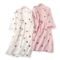 草莓浴袍睡裙女夏秋季全棉日式长袖睡袍可爱纱布和服汗蒸纯棉睡衣