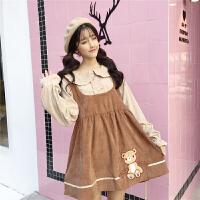日系软妹春装可爱卡通小熊刺绣拼接假两件娃娃领长袖学生连衣裙子