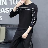 新品男士长袖T恤套装休闲外套学生韩版潮帅气套2018春装新款两件