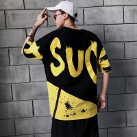 字母T恤潮男生嘻哈风短袖体恤衫个性休闲宽松简约时尚T恤男上衣