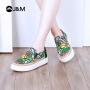 【低价清仓】jm快乐玛丽春季新款时尚平底套脚设计师涂鸦乐福女鞋子