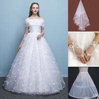 2018秋冬季新款韩式婚纱新娘结婚婚纱礼服一字肩齐地蕾丝花瓣婚纱 FH620