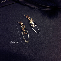欧美个性夸张英文字母耳环女韩版潮人18K玫瑰金钛钢长款耳钉耳饰