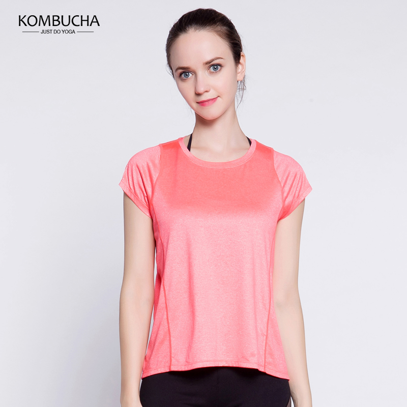 【限时秒杀】Kombucha瑜伽健身短袖T恤女士速干透气圆领宽松短袖T恤运动跑步健身上衣K02641.15-20【折后领券再满200减20】