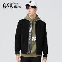 gxg.jeans男装冬季黑色修身棒球服立领青年潮流夹克外套64621096