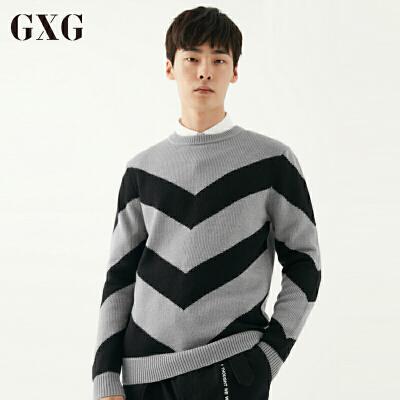 青年时尚男装_【新品】gxg毛衫男装 冬季男士青年时尚休闲黑灰条圆领毛衫毛衣针织衫