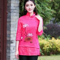 2018夏装新款女民族风中式修身手绘唐装立领七分袖棉麻盘扣上衣女