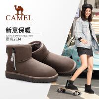 骆驼女鞋2019冬季新款女靴加绒保暖靴短靴女休闲时尚平底雪地靴女
