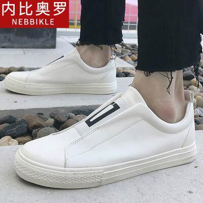 2018新款套脚白色男鞋子韩版潮流鞋子透气休闲鞋