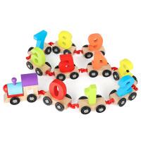 幼儿童早教智力男女孩玩具1-2周岁积3木制拼装6拖拉数字小火车