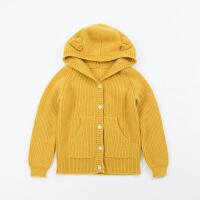 男童针织开衫外套 新款儿童羊绒衫2018男宝宝粗毛线外穿加厚毛衣 姜黄色