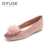 迪芙斯(D:FUSE)秋季毛球方头浅口方跟舒适低跟优雅单鞋DF83111712