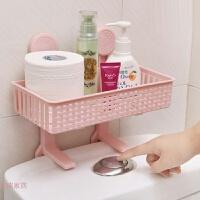 洗手间免打孔浴室吸盘置物架卫生间用品吸壁式厕所马桶塑料收纳架 颜色随机