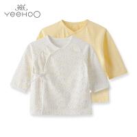 【直降】英氏新生儿夏季衣服婴儿和尚服上衣纯棉宝宝内衣2件装174669