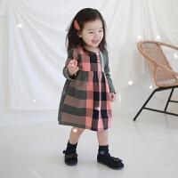 2019 韩版春夏童裙格子女童连衣裙中小童复古童装裙 格子粉
