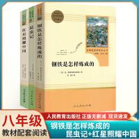 人教同步阅读名著(昆虫记+红星照耀中国+钢铁是怎样炼成的)3本八年级上册 下册同步阅读人民教育出版社 初中课外阅读经典