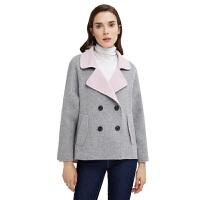 【网易严选 清仓秒杀 冬季保暖】女式双色100%羊毛短款大衣