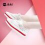 jm快乐玛丽2019春季新款厚底松糕系带蕾丝透气休闲鞋女鞋子87013W