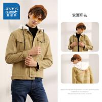 [618提前购专享价:129元]真维斯工装夹克男秋装夹克衫可拆帽学生秋衣男装外套潮流