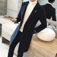 秋冬季风衣男中长款潮流韩版修身呢子外套加棉加厚毛呢大衣男士