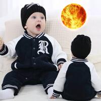 一岁宝宝冬装男童连体哈衣6-12个月婴儿冬季外出抱衣保暖周岁衣服