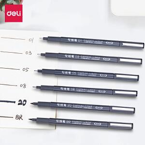 [满68包邮]得力小双头油性黑色红色蓝色记号笔 儿童绘画粗细勾线笔 不掉色防水笔批发