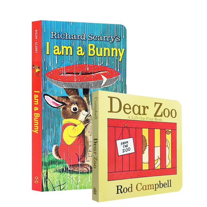 英文原版绘 i am a bunny,dear zoo 2本 我是一只兔子神奇动物 0-3岁儿童英文 廖彩杏吴敏兰推荐启蒙宝宝阅读早教纸板翻翻书