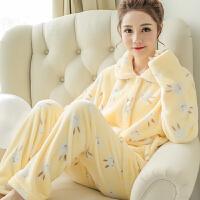 珊瑚绒睡衣女可爱冬天家居服睡衣秋季法兰绒长袖加厚大码套装gd