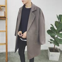 新款原创潮男羊绒大衣中长款风衣英伦秋冬男士毛呢料宽松呢子外套