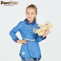 【2件2.5折 到手价:150】Pawinpaw宝英宝小熊童装款女童翻领中长款拼色衬衫儿童上衣休闲风
