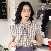 女夏2018新款韩版网红洋气社会两件套装时尚俏皮格子衬衣+半身裙 均码